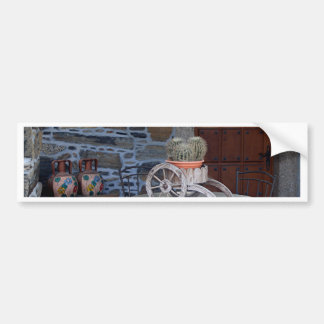 Cacti, cart, pots and table, Spain Bumper Sticker
