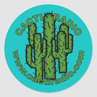 Cacti Radio Round Sticker