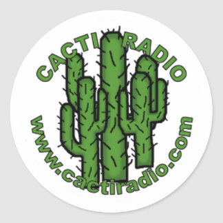 Cacti Radio Round White Sticker