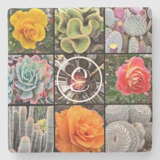 Cacti & roses photo custom monogram stone coaster
