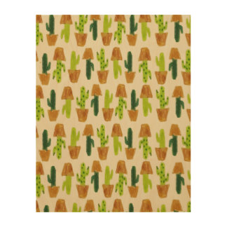 Cacti Wall Art Wood Canvases
