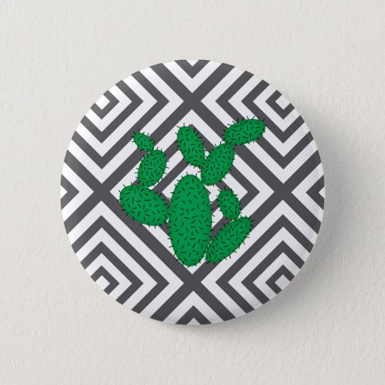 Cactus - Abstract geometric pattern - grey. 2 Inch Round Button
