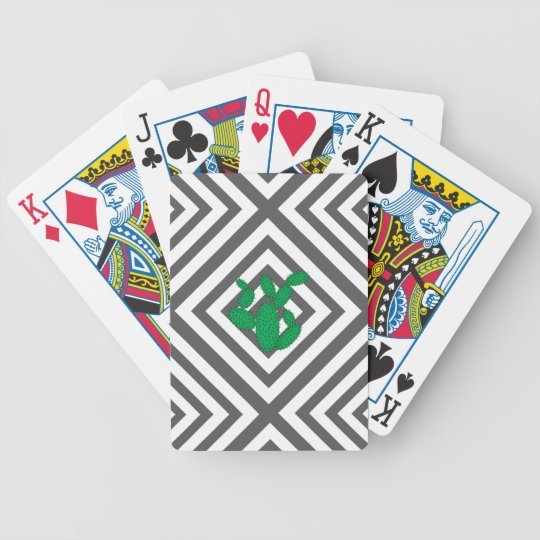 Cactus - Abstract geometric pattern - grey. Bicycle Playing Cards