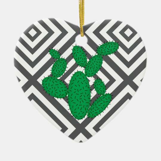 Cactus - Abstract geometric pattern - grey. Ceramic Ornament