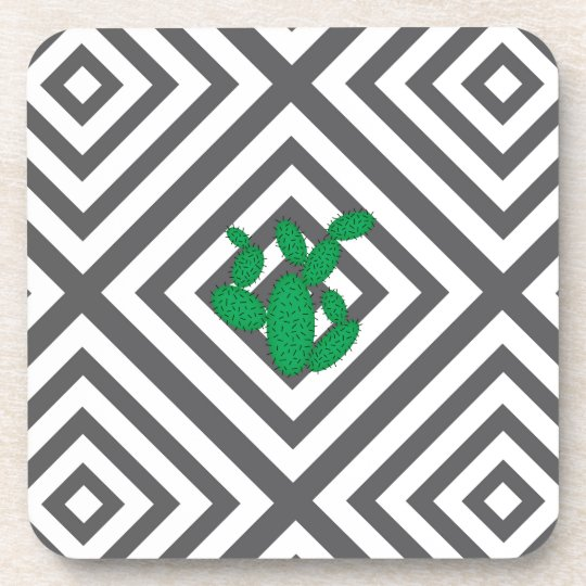 Cactus - Abstract geometric pattern - grey. Coaster