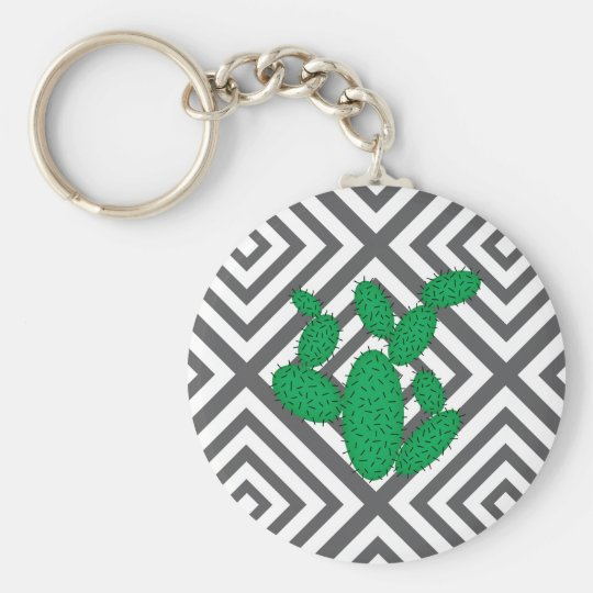 Cactus - Abstract geometric pattern - grey. Keychain
