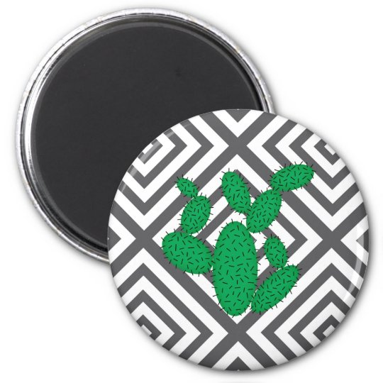 Cactus - Abstract geometric pattern - grey. Magnet