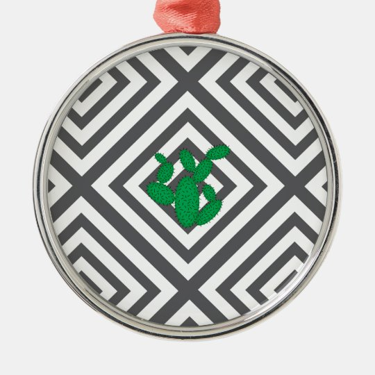 Cactus - Abstract geometric pattern - grey. Metal Ornament