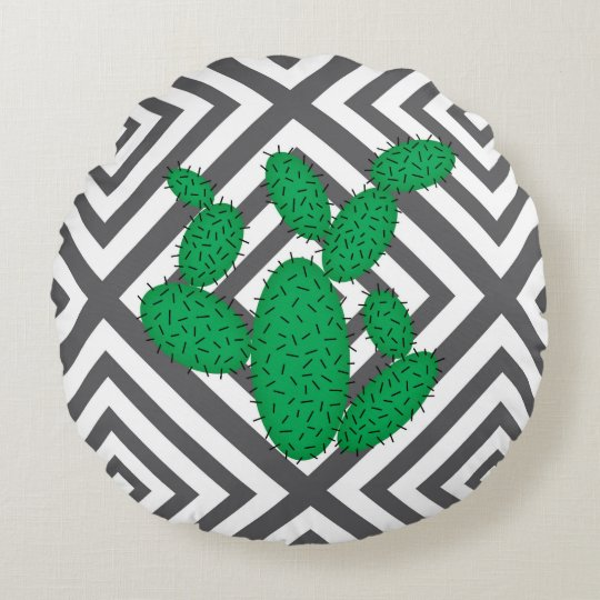 Cactus - Abstract geometric pattern - grey. Round Pillow