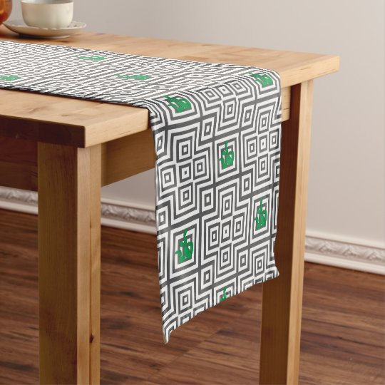 Cactus - Abstract geometric pattern - grey. Short Table Runner