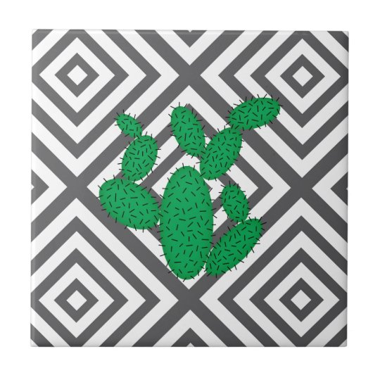 Cactus - Abstract geometric pattern - grey. Tile