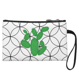 Cactus - Abstract pattern - black and green. Wristlet