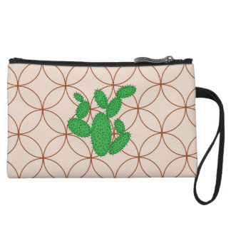 Cactus - Abstract pattern - brown and green. Wristlet