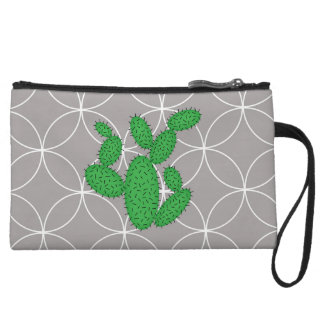 Cactus - abstract pattern - gray and green. wristlet