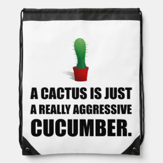 Cactus Aggressive Cucumber Drawstring Bag