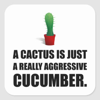 Cactus Aggressive Cucumber Square Sticker