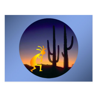 Cactus and Kokopelli Round Postcard