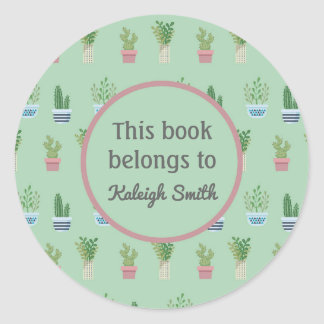 Cactus and Plants in Pots Book Name Plate Classic Round Sticker