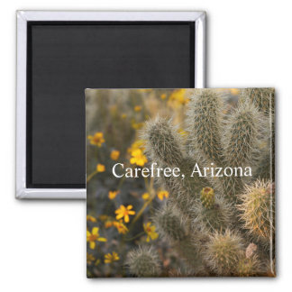 cactus and wildflowers Carefree, Arizona Magnet