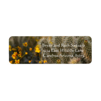cactus and wildflowers return address label
