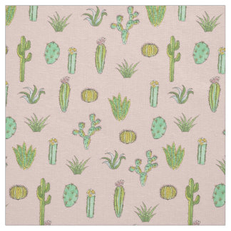 Cactus Art Print on Pink Textile Fabric