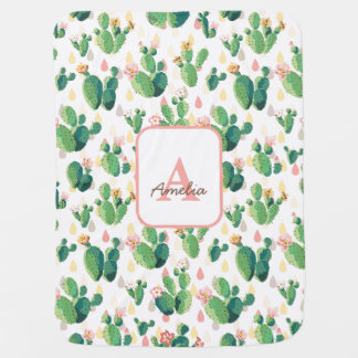 Cactus Bloom Floral Baby Girl Blanket