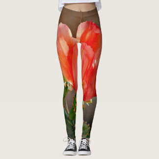 Cactus Bloom in Red Custom Women's Leggings