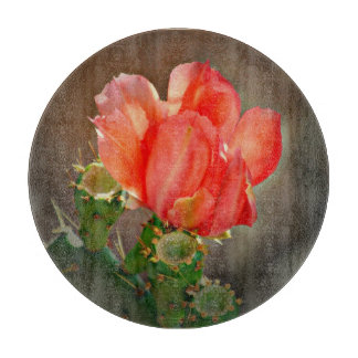 Cactus Bloom in Red Round Cutting Board