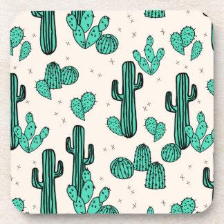 Cactus / Cacti Green Cream Tropic / Andrea Lauren Drink Coaster