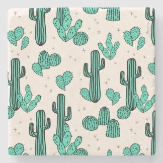 Cactus / Cacti Green Cream Tropic / Andrea Lauren Stone Coaster