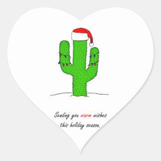 Cactus Christmas Heart Sticker