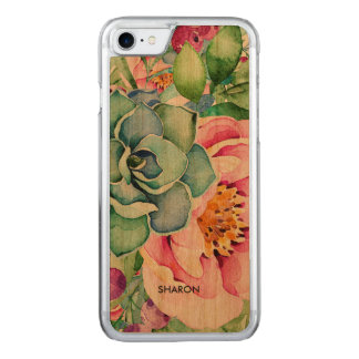 Cactus & Colorful Flowers Watercolors Carved iPhone 8/7 Case