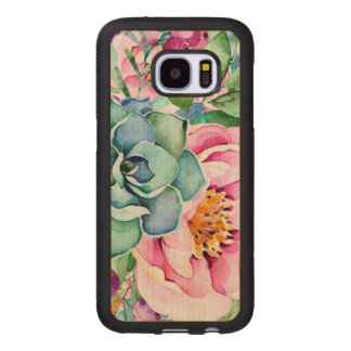 Cactus & Colorful Flowers Watercolors Wood Samsung Galaxy S7 Case