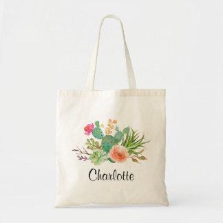 Cactus,Custom Name Wedding|Personalized Braidsmaid Tote Bag