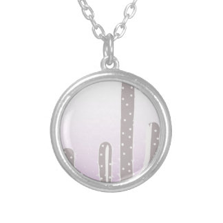 Cactus Desert Sunset Design Silver Plated Necklace