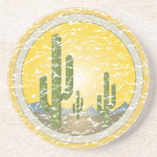 Cactus desert sunset drink coaster