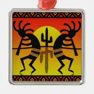 Cactus Desert Sunset Kokopelli Southwest Silver-Colored Square Ornament