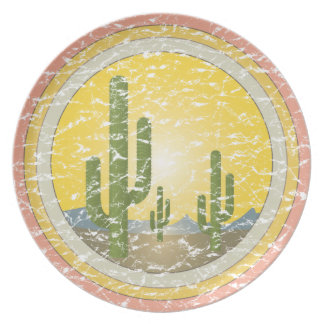 Cactus desert sunset party plates