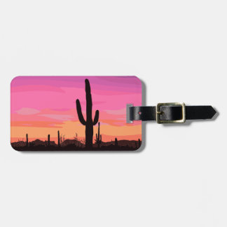 Cactus Desert Sunset Travel Luggage Tag