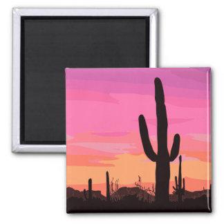 Cactus Desert Sunset Travel Magnet