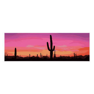 Cactus Desert Sunset Travel Poster