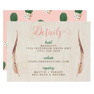 Cactus Desert Wedding Information Cards