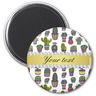 Cactus Faux Gold Bling Diamonds 2 Inch Round Magnet
