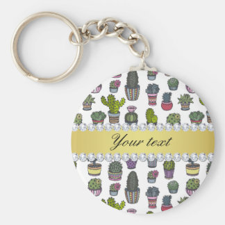 Cactus Faux Gold Bling Diamonds Basic Round Button Keychain