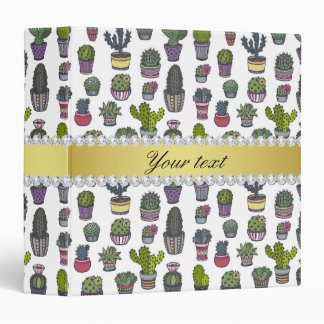Cactus Faux Gold Bling Diamonds Binders