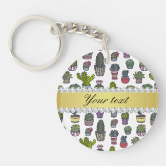 Cactus Faux Gold Bling Diamonds Double-Sided Round Acrylic Keychain