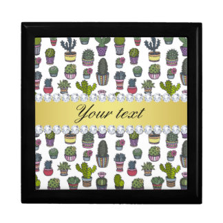 Cactus Faux Gold Bling Diamonds Gift Box