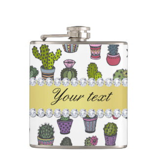 Cactus Faux Gold Bling Diamonds Hip Flask