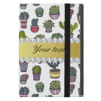 Cactus Faux Gold Bling Diamonds iPad Mini Case