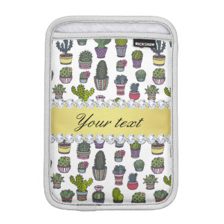 Cactus Faux Gold Bling Diamonds iPad Mini Sleeve